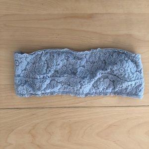 Aerie gray floral lace Bandeau bra underwire 34c